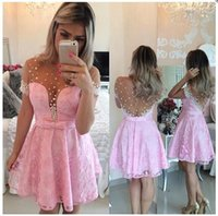 Pink Short Homecoming Dresses 2016 Sher Jewel Neck with Pear...