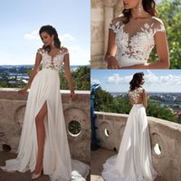 Sexy elegante A linha de chiffon Beach Wedding Dresses 2017 Sheer Neck Lace Appliques Cap mangas Thigh-High Split nupcial Vestidos Custom Made
