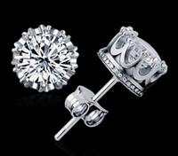 Boucles d'oreilles de mariage New Crown Wedding Earrings 925 en argent sterling CZ Simulated Diamonds Engagement Beautiful Jewelry Crystal Earrings