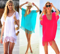 Women' s Sexy Knit Crochet Fringed Cover- Up Beach Dress ...
