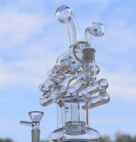 2016New arrivée deux fonctions tuyau d'eau en verre barboteur en verre bong en verre Violin recycleur avec pneu perc 14.5mm joint femelle.