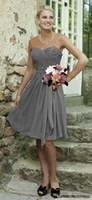 Бесплатная доставка пляж лето платье невесты Новый шифон Длина колена Короткие серый цвета фрейлины Wedding мантия партии