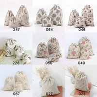 Printed cloth cotton linen drawstring bag canvas bags storag...