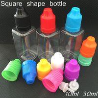 forme carrée bouteilles e-jus en plastique animal 10ml 30ml flacons compte-gouttes de l'huile e-liquide pe bouteille vide eliquid avec capuchon coloré childproof DHL