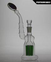 28cm Tall Glass Bubbler 8 percolateur d'arbres de bras Plate-forme de l'huile de verre Lovely water smoking pipe Joint taille 18.8mm PG061