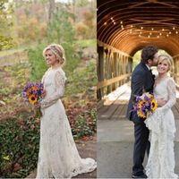 2016 Потрясающие Kelly Clarkson Страна свадебные платья весна с длинными рукавами из бисера Кружева Boho Свадебные платья Плюс Размер Свадебные платья