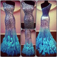 Shining Sequined Prom Dresses With Feather One Shoulder Illu...