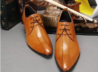 Top New business dress shoes men pointed low help shoes Brit...