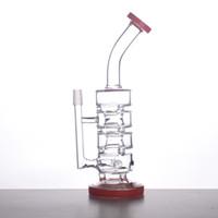 Stright VITRE BONG tube de 55mm 4 Chambres Piles de Sundae Bong de verre de filtre Tube d'eau de verre lourd 250mm Hauteur avec DomeNail S06