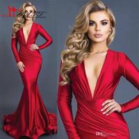 Новые Sexy V шеи вечерние платья Красный Deep +2017 Robe De Soiree мусульманская вечера партии Элегантный оборками платья выпускного вечера платья осень