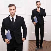 2016 (куртки + жилет + брюки) Бордовые черные Мужские костюмы Slim Fit смокинг способа тавра Bridegroon бизнес свадебное платье черные костюмы Blazer