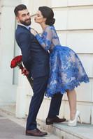 2017 Royal Blue Саид Mhamad Кружева Пром платья Длинные рукава Линия длины колена Модест Arabic Черная девочка Вечерний Pageant партии мантий Vestidos