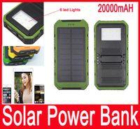 20000mAh Solar Power Bank Ультратонкий LED Highlight солнечной энергии Банки 2A Выходной портативное зарядное устройство солнечной энергии POWERBANK с розничным пакетом