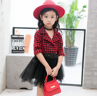 Fashion Children Girls Plais Shirt Tulle Splicing Dresses wi...
