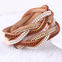 Nouveaux Fashion 6 couches Wrap Bracelets serpent Bracelets en cuir avec cristaux Couple Bracelet Bijoux Bon Cadeau