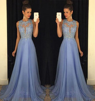 2016 Sexy New Prom Dresses Lace Applique Beads Top Chiffon F...