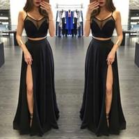 Sexy Sheer экипажа Вырез Side Сплит черный длинный из двух частей платья выпускного вечера шифон этаж Длина Вечерние платья