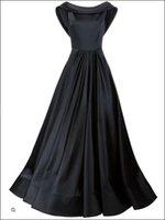 Sexy Black Satin развертки поезд вечерние платья Элегантные платья выпускного вечера Scoop Backless рукавов Плюс размер Формальная партии мантий +2017 сшитое