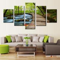 Большой современный декор стены абстрактного искусства картины маслом напечатаны на холсте Woods и водопадами Современный домашний декор стен Холст Art Picture Unframed