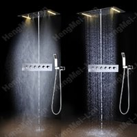 cheap bathroom shower systems with chrome square mixer valve and multi function rain and waterfall shower head with leds