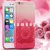 4.7 pulgadas Caso Accesorios móvil transparente en relieve Rose Ultra Thin TPU del teléfono celular para el iPhone 6 6s