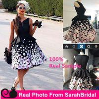 2016 Little Black Satin Вечерние коктейльные платья с красочными 3D Аппликации Цветы Короткие длины колена линии выпускного вечера шарика мантий выполненном на заказ