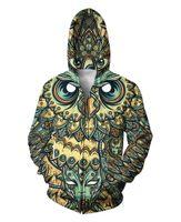 Brand- Clothing Arrival 3D zipper sweatshirt print ovo owl ho...