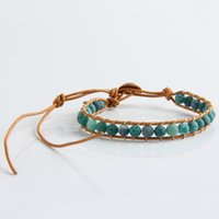 New Boho Style Mixed Leather Natural Green Agate Bead Bracel...