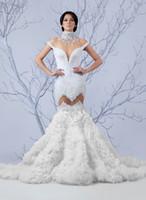 2017 Самые новые Русалка высоким горлом Свадебные платья дешевые Полный Бисероплетение Винтажный корсет Свадебные платья Beidal платья