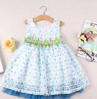 2016 Princess Girls Summer Blue Sleeveless Dress Children Gi...
