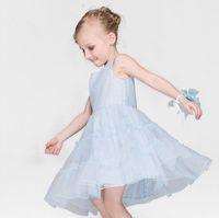 Elegant Princess Dress 2016 Baby Kids Clothing Solid Color S...