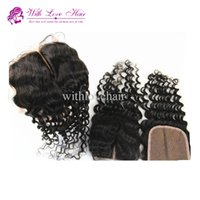 Cheap 4*4 inches Natural Color Deep Wave Middle Part Lace Cl...