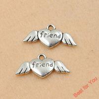 50pcs Tibetan Silver Tone Wings Friend Heart Charms Fashion ...
