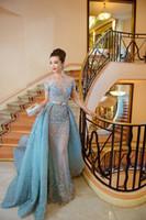 2016 Привет-Q Elie Saab Вечерние платья Иллюзия Sheer юбки Sky Blue Sexy Длинные платья выпускного вечера Luxury баски знаменитости вечернее платье