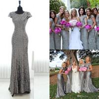 Silver Grey Sequins Long Bridesmaid Dress 2016 Sparkly Cap S...