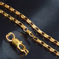 """4mm*20"""" Box chain 18k gold plated necklace fashion personali..."""