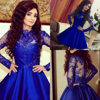 2016 Royal Blue Illusion Long Sleeves Lace Satin Homecoming ...
