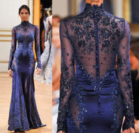 Long Sleeve Evening Dresses 2016 Zuhair Murad High Neck Lace...