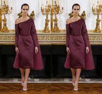 2016 Мода Burgundy Stain чай Длина платья выпускного вечера наматывается Элегантный для женщин платье с длинным рукавом Официальные вечерние платья случаю Пользовательские