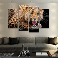 4 Панель Set (No Frame) Желтый Пятна Leopard Живопись Холст Wall Art Picture Home Decor Холст Печать Холст Картины для гостиной