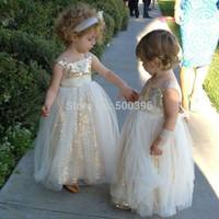2016 Golden Блестящий маленький цветок девочки платья Блестки Blings Цветы без рукавов чай Длина молния назад Peagent платья