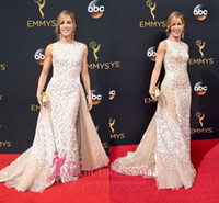 Felicity Huffman Long Champagne Evening Celebrity Dresses wi...