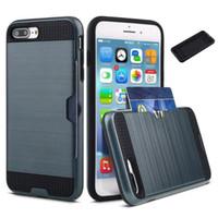 Гибрид Броня бумажник чехол для iphone 5 5s SE 6 6s 7 плюс амортизацией Резиновое покрытие против царапин защитной оболочки с карты памяти