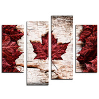 4 Pieces Кленовые листья картин Современный домашний декор стены Холст Art Picture Печать картины на холсте Картинка для домашнего декора с деревянным обрамлении