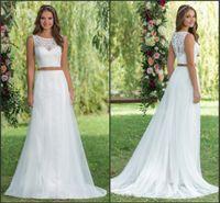 Two Pieces Vintage Lace Summer Beach Wedding Dresses 2016 Ne...