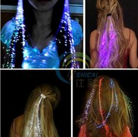 Flash LED Hair Light Emitting Fiber Optic Pigtail Braid Plai...