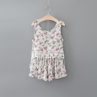 Summer 2016 new children outfits girls floral printed lace t...