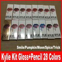 Последние 28colors Kylie Jenner lipgolss LIP KIT Kylie губ карандаш Velvetine жидкий штейн губной помады красного бархата макияж блеск для губ макияжа