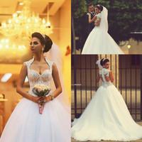 2016 Cheap Vintage Wedding Dresses High Neck Sweetheart Bead...