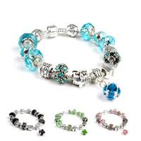 Argent Fashion européenne Plaqué Bead amour avec perles en cristal coloré Charm Fit Femmes Pandora Bracelets Bangles Bijoux